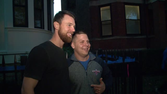 chicago cubs ben zobrist signs autograph, takes pictures with fans outside his home after world series win on nov. 3, 2016. - autogramm stock-videos und b-roll-filmmaterial