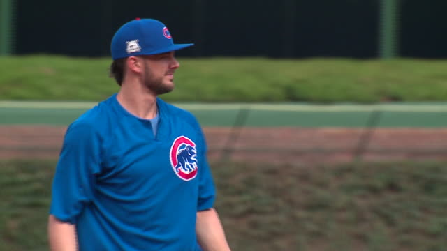WGN Chicago Cubs Kris Bryan Practices Fielding Drill at Wrigley Field on Oct 3 2017