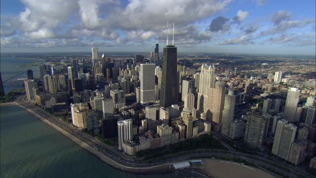 aerial, chicago downtown, illinois, usa - coastline stock videos & royalty-free footage