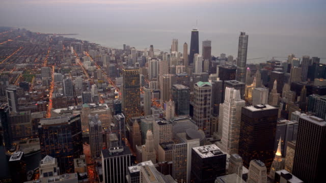 chicago downtown skyline during twilight in illinois - north stock videos & royalty-free footage