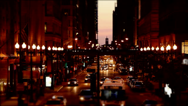 Chicago Downtown- street traffic at twilight ,HD 1080p