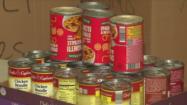 chicago filipino community gathers aid for typhoon victims canned goods for typhoon aid donation on november 13 2013 in chicago illinois - donation box stock videos & royalty-free footage