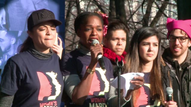 wgn chicago hamilton cast member samantha marie ware speaks at women's march in chicago on jan 21 2017 - cast member stock videos and b-roll footage