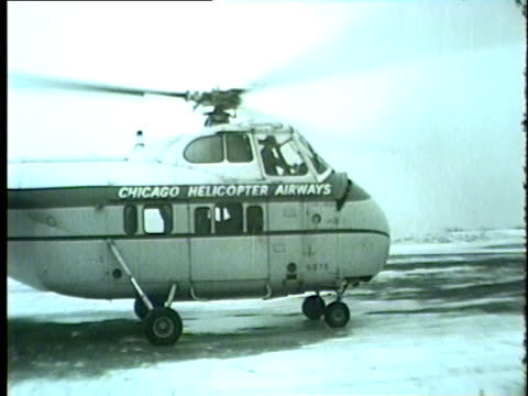 wgn chicago helicopter airways helicopter service in winnetka in january 1958 - 1958 stock videos & royalty-free footage