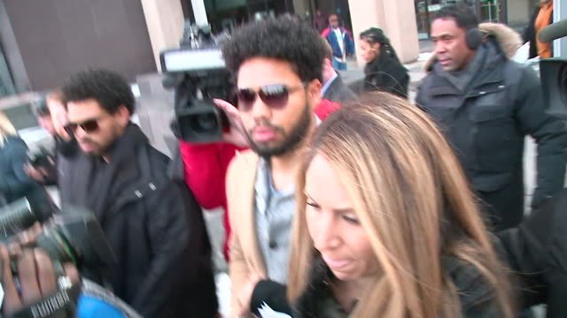WGN Chicago IL Jussie Smollett leaves courthouse after bond hearing on February 20 2019 Smollettwas charged with felony disorderly conduct for filing...