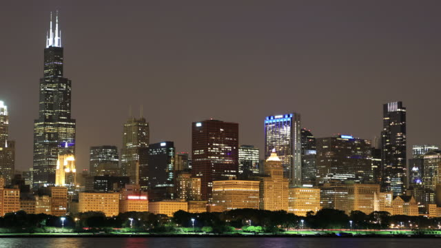 chicago, illinois, usa-skyline - sears tower stock-videos und b-roll-filmmaterial