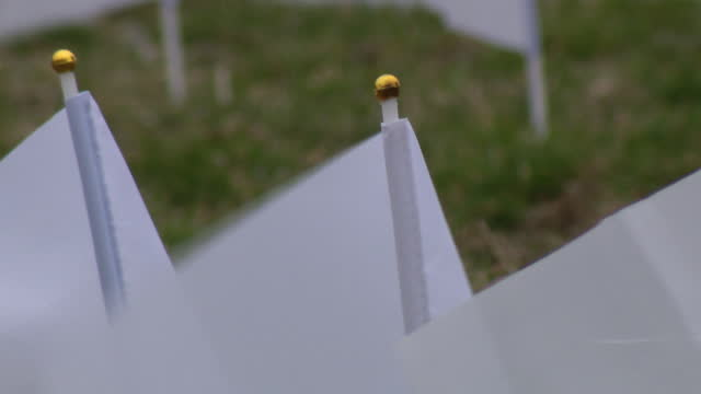 chicago, il, u.s. - 250 white flags in front of city hall in aurora to commemorate covid-19 victims on tuesday, march 16, 2021. - 追悼行事点の映像素材/bロール