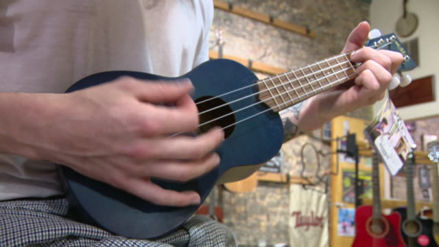 vídeos de stock e filmes b-roll de wgn chicago il us a man playing drums mandolin and ukulele at guitar works a guitar shop in evanston il amid coronavirus pandemic on saturday... - pandeiro