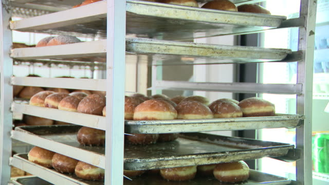 vidéos et rushes de chicago, il, u.s. - abundance of doughnuts for shrove tuesday at delightful pastries bakery. it is the day before christians start giving up things... - mardi gras fête religieuse