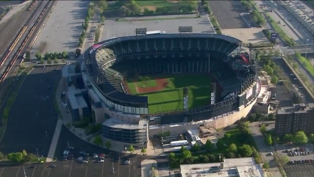WGN Chicago IL US Aerial view of Chicago White Sox's Guaranteed Rate Field from WGN helicopter Skycam 9 on Tuesday May 14 2019