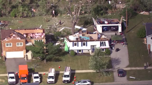 chicago, il, u.s. - aerial view of destruction left by ef-3 tornado in naperville, on monday, june 21, 2021. - aircraft point of view stock videos & royalty-free footage