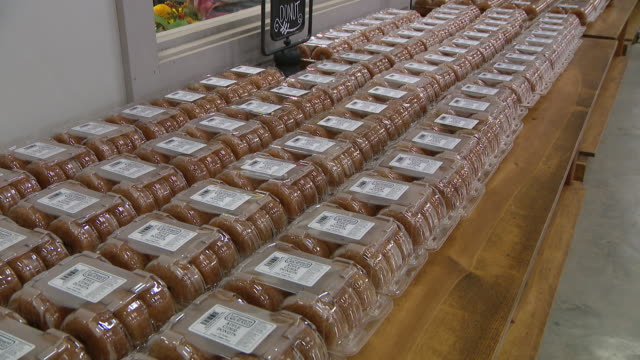 chicago, il, u.s. - an employee prepares apple cider donuts and rows of boxes with donuts at a bakery located inside the farm market at all seasons... - other stock videos & royalty-free footage