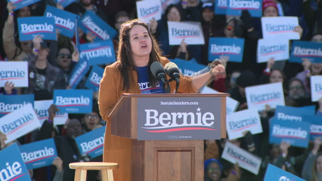 wgn chicago il us bsupporters of bernie sanders speaking during grant park campaign rally in chicago on saturday march 7 2020 - focus on foreground stock videos & royalty-free footage