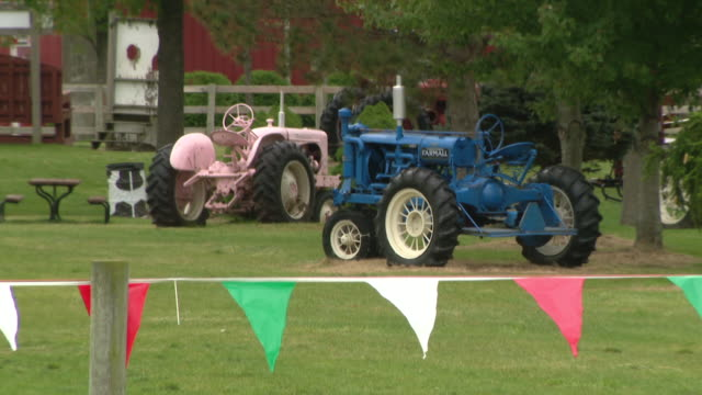 chicago, il, u.s. - buggies and tractors at all seasons orchard on saturday, october 3, 2020. all seasons orchard in woodstock has rows of seasonal... - other stock videos & royalty-free footage