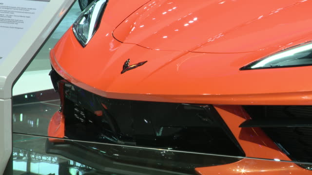 chicago, il, u.s. - chevrolet corvette on display at the 112th annual chicago auto show at mccormick place, day 1 of the annual chicago auto show,... - day 1 stock videos & royalty-free footage