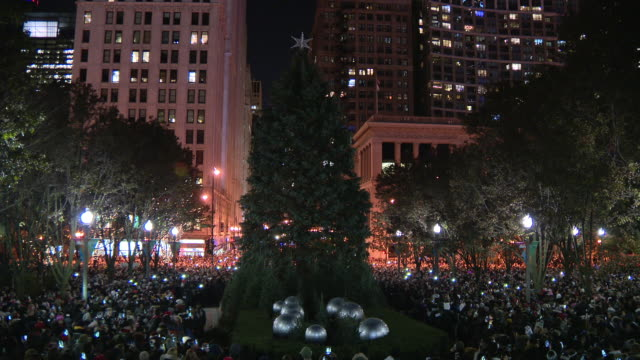 chicago, il, u.s. - chicago's christmas tree lighting ceremony and ice rink in millennium park on friday, november 22, 2019. - christmas tree lighting ceremony stock videos & royalty-free footage
