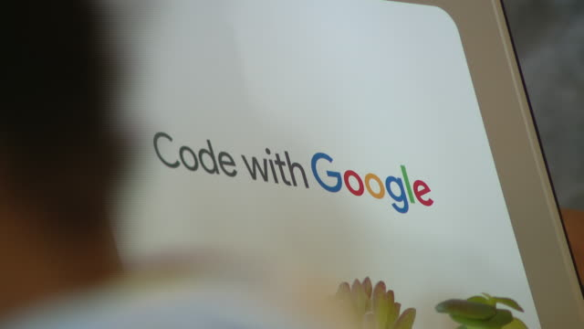 wgn chicago il us close ups of google logos at announcement event for chance the rapper's new coding project on monday decemder 9 2019 - google stock videos & royalty-free footage