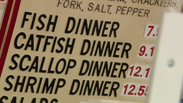 chicago, il, u.s. - close-up of menu in calumet fisheries restaurant, on wednesday, july 22, 2020. - data stock videos & royalty-free footage