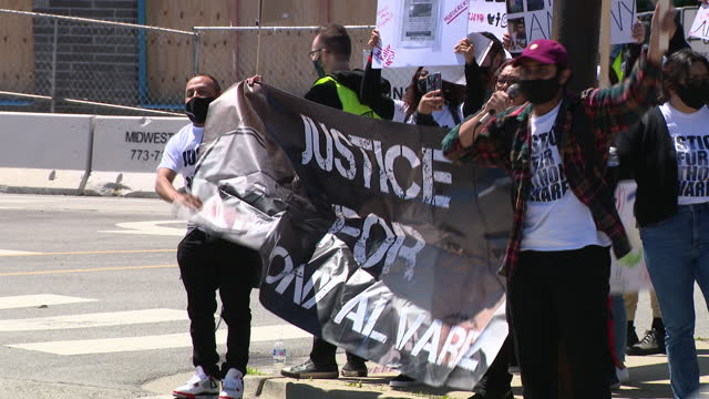 chicago, il, u.s. - community members demanding justice for police shooting victim anthony alvarez on saturday, may 29, 2021. - male likeness stock videos & royalty-free footage