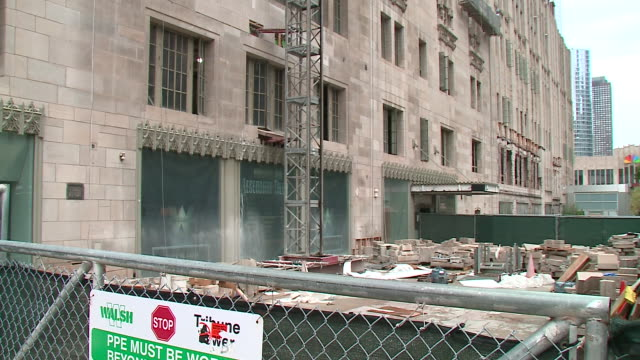 wgn chicago il us construction work on the exteriors of the historic tribune tower and bust of jack brickhouse on friday september 13 2019 - gothic stock videos & royalty-free footage