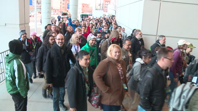 chicago, il, u.s., crowd of fans entering star wars celebration event at mccormick place, on friday, april 12, 2019. - star wars stock videos & royalty-free footage