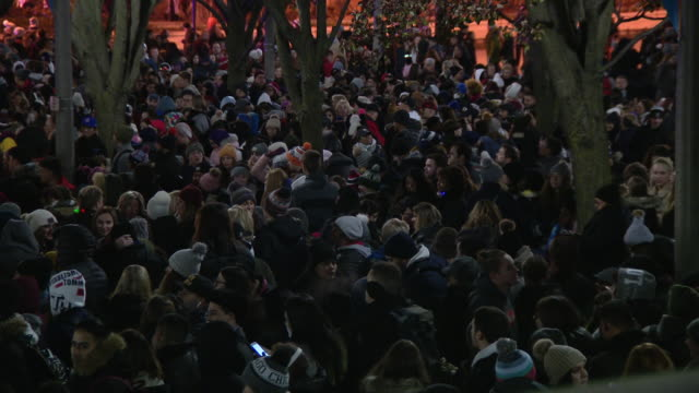 wgn chicago il us crowd wait for chicago's christmas tree lighting ceremony in millennium park on friday november 22 2019 - クリスマスツリー点灯式点の映像素材/bロール