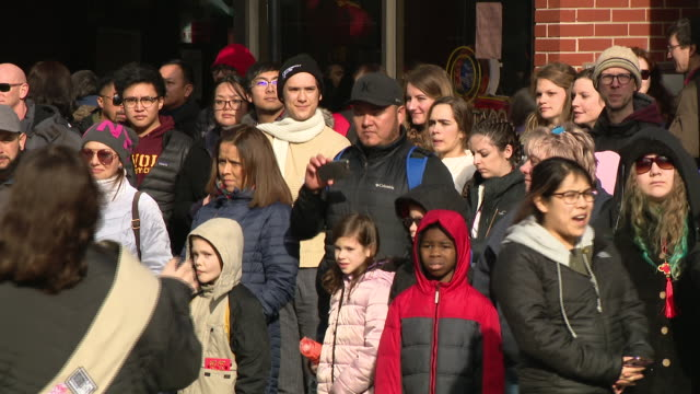 chicago, il, u.s. - crowds at lunar new year parade in chinatown facing coronavirus epidemic, on sunday, february 2, 2020. - chinese culture stock videos & royalty-free footage