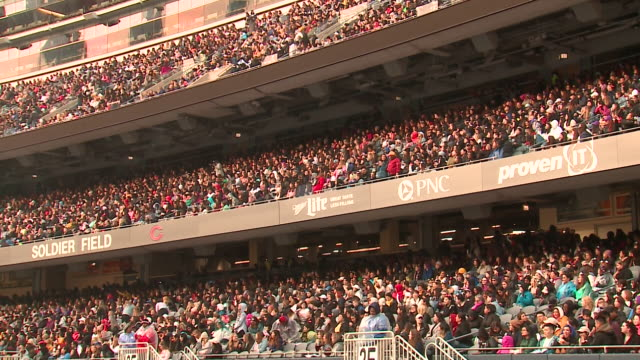 chicago, il, u.s., - crowds of fans watching south korean boy band bts perform at soldier field on saturday, may 11, 2019. - pop musician stock videos & royalty-free footage