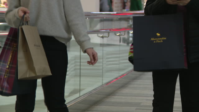 chicago, il, u.s. - customers with shopping bags hunting for early black friday deals. chicago on friday, november 29, 2019. - shopping bag stock videos & royalty-free footage