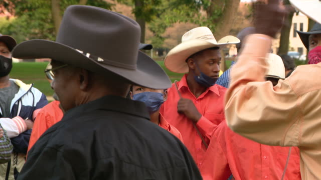 wgn chicago il us dreadhead cowboy's supporters gather after his arrest on monday september 21 2020 - cowboy hat stock videos & royalty-free footage