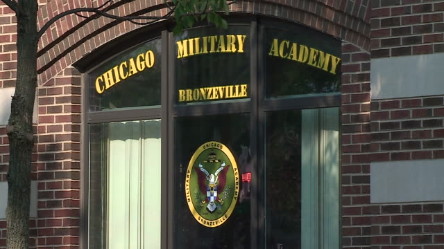 chicago, il, u.s. - exterior details of chicago military academy bronzeville building on tuesday, august 25, 2020. - wall building feature stock videos & royalty-free footage