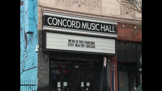 wgn chicago il us exterior of concord music hall a chicago concert venue with 'stay healthy chicago' sign during covid19 pandemic on tuesday may 5... - concert hall stock videos & royalty-free footage