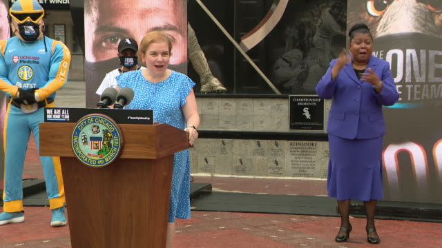 """wgn chicago il us female doctor speaking at press conference mayor lori lightfoot joined chicago's sports teams to announce the launch of the """"we are... - female doctor stock videos & royalty-free footage"""