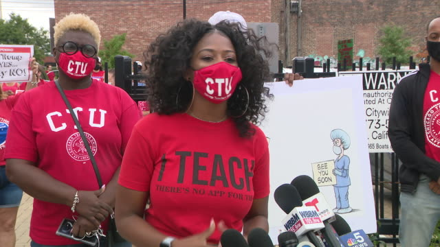 chicago, il, u.s. - female teacher speaks out during chicago teachers union protest calling for remote learning on monday, august 3, 2020. chicago... - e learning stock videos & royalty-free footage