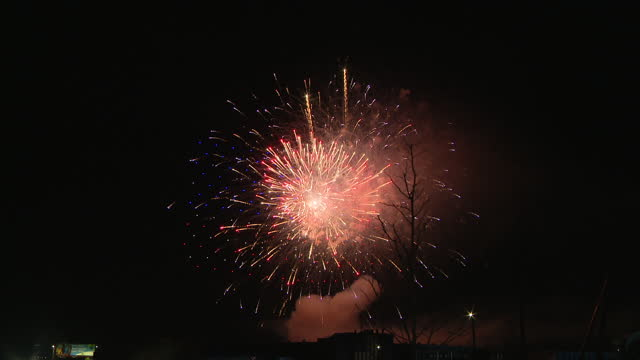 chicago, il, u.s. - fireworks going off after joe biden's victory speech in wilmington, delaware on saturday, november 7, 2020. - firework display stock videos & royalty-free footage