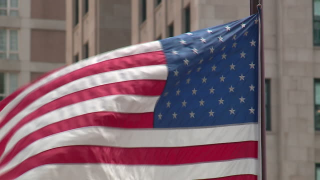 wgn chicago il us flags waving during memorial day weekend on may 25 2019 - us memorial day stock videos & royalty-free footage