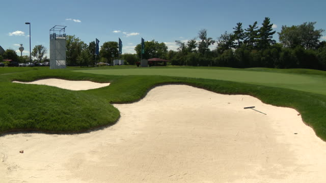 chicago, il, u.s. - golf courses at the olympia fields country club ahead of the pga tour playoff event, bmw championship, which was scheduled to... - pgaイベント点の映像素材/bロール