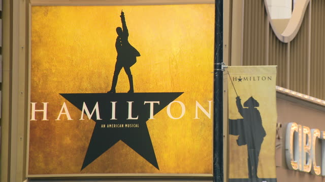 chicago, il, u.s. - 'hamilton' musical poster on cibc theatre in chicago on sunday, january 5, 2020. 'hamilton' musical ends its run in the city,... - poster stock videos & royalty-free footage
