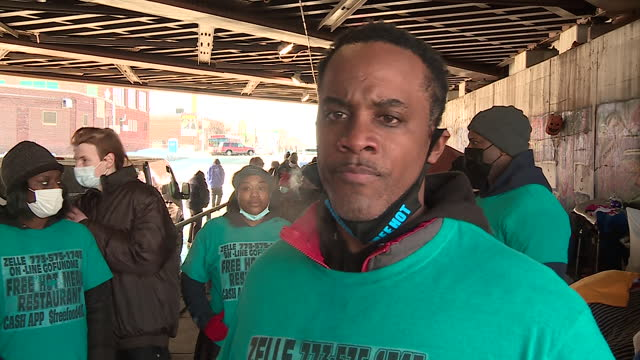 chicago, il, u.s. - jermaine jordan speaks about helping homeless people in winter on tuesday, february 9, 2021. jermaine jordan, a west side... - 利他主義点の映像素材/bロール