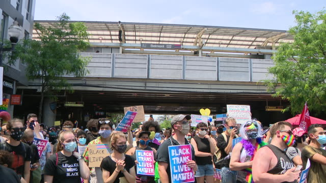 wgn chicago il us lgbtq community in solidarity with black lives matter on tuesday june 28 2020 - material stock videos & royalty-free footage