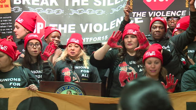 wgn chicago il us mcdonald's employees protest against violence in workplace mcdonald's employees claim the company's drive for profits puts workers... - woolly hat stock videos & royalty-free footage