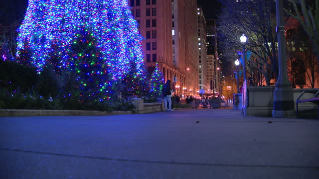 chicago, il, u.s. - people walking and standing near christmas tree illuminated after virtual lighting ceremony in millennium park, on thursday,... - christmas tree lighting ceremony stock videos & royalty-free footage