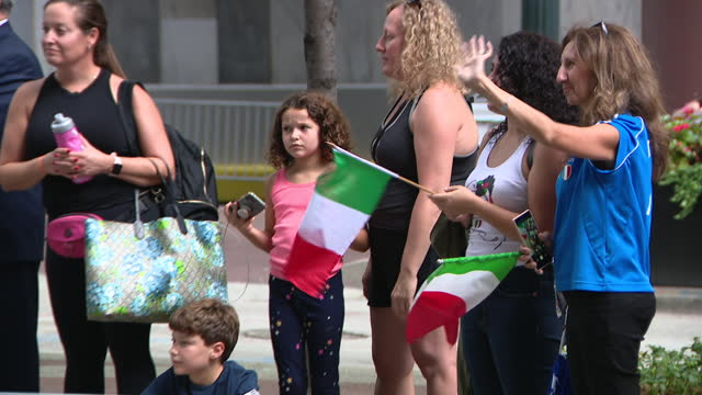 chicago, il, u.s. - people with italian flags seen at 69th annual columbus day parade on state street in chicago. smiles and excitement lined state... - christopher columbus explorer stock videos & royalty-free footage