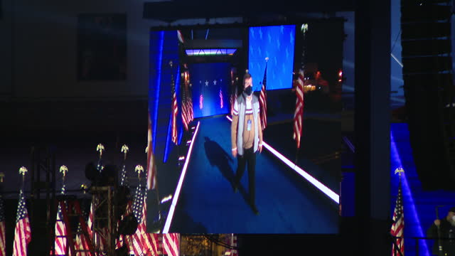 chicago, il, u.s. - preparations for president-elect joe biden's victory speech at night in wilmington, delaware on saturday, november 7, 2020. three... - success stock videos & royalty-free footage