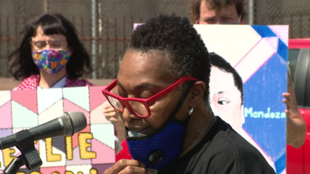 chicago, il, u.s. - protest participant giving speech. about 150 protesters on foot, as well as hundreds more in cars, gathered outside the cook... - participant stock videos & royalty-free footage