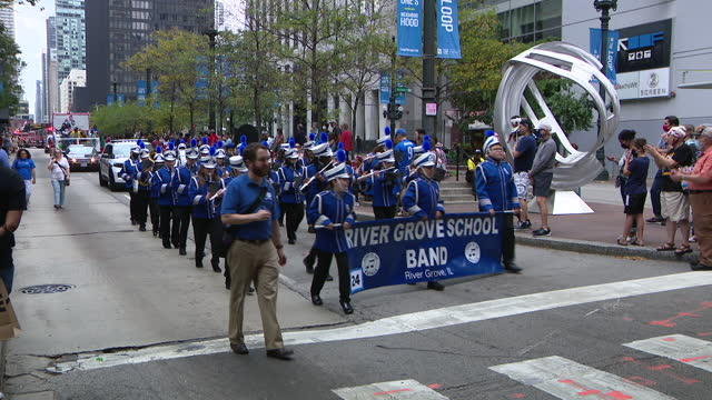 chicago, il, u.s. - river grove school marching band seen at 69th annual columbus day parade on state street in chicago. smiles and excitement lined... - christopher columbus explorer stock videos & royalty-free footage