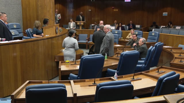 chicago, il, u.s. - scenes from special cook county board meeting during covid 19 outbreak. president toni preckwinkle's power to make some decisions... - last stock videos & royalty-free footage
