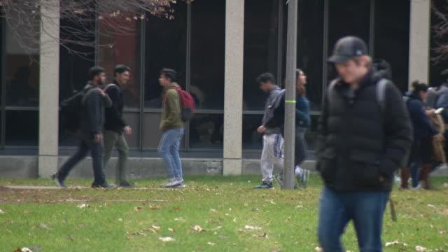 chicago, il, u.s. - students on uic campus after student murdered. campus on monday, november 25, 2019. - campus bildbanksvideor och videomaterial från bakom kulisserna