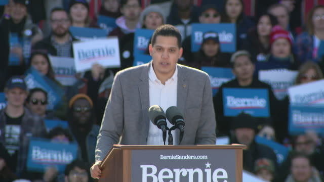 wgn chicago il us supporters of bernie sanders speaking during grant park campaign rally in chicago on saturday march 7 2020 - focus on foreground stock videos & royalty-free footage