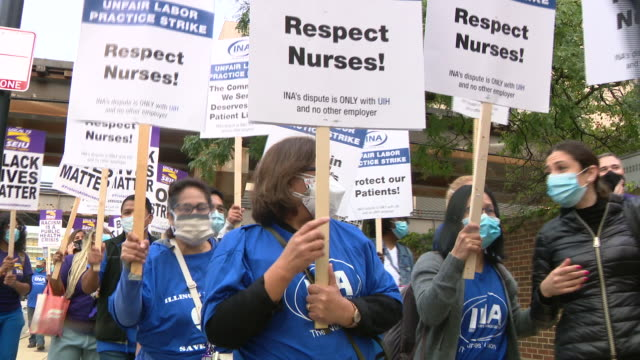 chicago, il, u.s. - ui health staff members on strike for better working conditions on monday, september 14, 2020. - gewerkschaft stock-videos und b-roll-filmmaterial